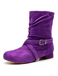 cheap -Girls' Dance Shoes Synthetics Dance Boots Buckle Heel Flat Heel Customizable Dark Gray / Purple / Red / Performance / Practice