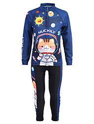 cheap -Nuckily Cat Cartoon Astronaut Boys' Girls' Long Sleeve Cycling Jersey with Tights - Kid's Dark Blue Bike Clothing Suit Windproof UV Resistant Breathable Sports Winter Fleece Spandex Chinlon Mountain