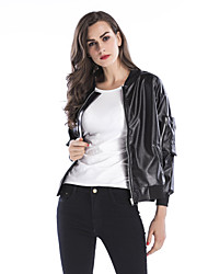 cheap -Women's Daily Basic / Street chic Fall & Winter Regular Leather Jacket, Solid Colored Stand Long Sleeve Polyester Black