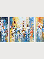 cheap -Oil Painting Hand Painted Abstract Modern Stretched Canvas / Three Panels With Stretched Frame