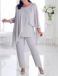 cheap -Two Piece Pantsuit / Jumpsuit Mother of the Bride Dress Elegant Plus Size Jewel Neck Ankle Length Chiffon Long Sleeve with Beading Ruffles 2020
