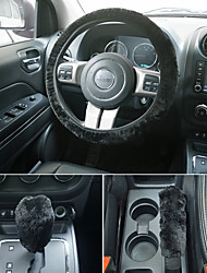 cheap -Universal Steering-wheel Plush Car Steering Wheel Covers Hand Brake Cover Gear Cover Set