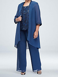 cheap -Sheath / Column / Pantsuit / Jumpsuit Scoop Neck Floor Length Chiffon / Lace 3/4 Length Sleeve See Through Mother of the Bride Dress with Pattern / Print 2020