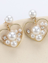 cheap -Women's Stud Earrings Drop Earrings Transparent Heart Korean Sweet Fashion Cute Elegant Imitation Pearl Imitation Diamond Earrings Jewelry Gold For Party Graduation Daily Holiday Work 1 Pair