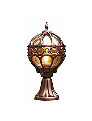 cheap -Waterproof Coloum Lamp Antique Aluminum Pillar Light Lantern for Gardern Courtyard Glass Lampshade Exterior Wall Light Fixtures