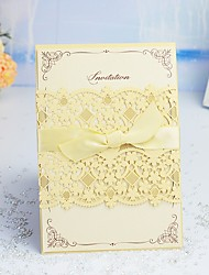 "cheap -Wrap & Pocket Wedding Invitations 30pcs - Invitation Cards / Thank You Cards / Response Cards Artistic Style / Modern Style / Floral Style Pearl Paper 5""×7 ¼"" (12.7*18.4cm) Satin Bow / Sash / Ribbon"