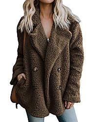 Недорогие -Жен. Искусственное меховое пальто Повседневные Обычная Однотонный Черный / Хаки / Зеленый S / M / L