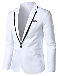 cheap -White / Black / Blue Solid Colored / Color Block Regular Fit Rayon / Polyester Men's Suit - Notch lapel collar