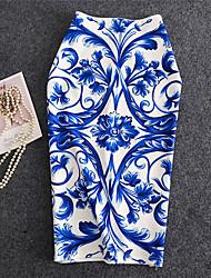 abordables -Femme Moulante Jupes - Rayé Imprimé Bleu L XL XXL