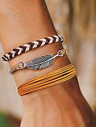 cheap -3pcs Women's Wrap Bracelet Vintage Bracelet Earrings / Bracelet Layered Weave Feather Simple Classic Vintage Ethnic Fashion Cord Bracelet Jewelry Yellow / Dark Blue For Daily School Street Holiday