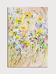 cheap -Oil Painting Hand Painted - Abstract Floral / Botanical Modern Stretched Canvas