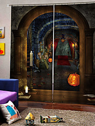 cheap -Devil Castle Background Curtain Simple Design UV Digital Printing Soundproof Blackout Curtain for Study /Bedroom /Living Room