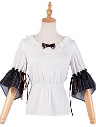 cheap -Traditional / Vintage Casual Elegant Blouse / Shirt Female Japanese Cosplay Costumes White Black & White Bowknot Lace Flare Sleeve 3/4 Length Sleeve Medium Length