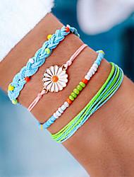 cheap -4pcs Women's Blue Green White Bead Bracelet Wrap Bracelet Vintage Bracelet Layered Weave Daisy Vintage Fashion Cute Boho Colorful Cord Bracelet Jewelry Rainbow For Daily / Earrings / Bracelet