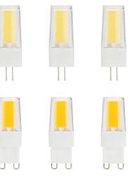 cheap -6pcs 5 W LED Bi-pin Lights 500 lm G9 G4 T 1 LED Beads COB Dimmable Warm White White 220-240 V