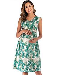 cheap -Women's Elegant A Line Dress - Floral Tropical Leaf, Print Yellow Red Green S M L XL