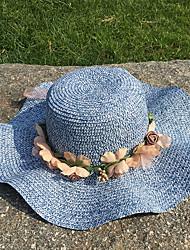 Недорогие -Жен. Активный Классический Симпатичные Стиль Соломенная шляпа Шляпа от солнца Солома,Контрастных цветов Лето Осень Розовый Синий Бежевый