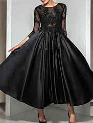 cheap -A-Line Illusion Neck Ankle Length Lace / Satin Elegant / Black Cocktail Party / Formal Evening Dress with Appliques 2020