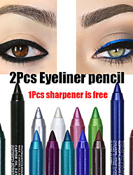 cheap -2Pcs Colourful Pigment Long Lasting Waterproof Eyeliner Pencil Fashion Eye Makeup Cosmetics