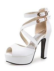 cheap -Women's Heels Chunky Heel Peep Toe Buckle Faux Leather Casual / Minimalism Walking Shoes Summer / Spring & Summer Black / White / Yellow / Daily
