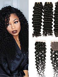 cheap -3 Bundles with Closure Malaysian Hair Deep Wave Virgin Human Hair 100% Remy Hair Weave Bundles Hair Weft with Closure 8-20 inch Natural Human Hair Weaves Designers Natural New Arrival Human Hair