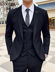 cheap -Black / Light Grey / Gray Striped Slim Fit Polyester Suit - Notch Single Breasted One-button