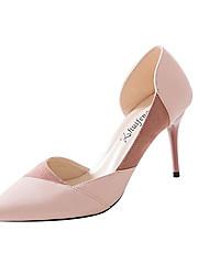 cheap -Women's Heels Kitten Heel PU Casual Summer Black / Almond / Pink / Daily