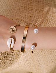 abordables -3pcs Manchettes Bracelets Bracelet Femme Classique Coquillage Précieux Coquillage Luxe Classique Tendance Bracelet Bijoux Dorée Argent pour Cadeau Quotidien Ecole Vacances Travail