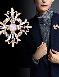 cheap -Men's Crystal Brooches Tennis Chain Creative Flower Luxury Classic Basic Rock Fashion Rhinestone Brooch Jewelry Gold Silver For Wedding Party Daily Work Club