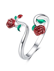 cheap -Rose open ring lady 925 sterling silver adjustable ring