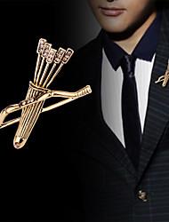 cheap -Men's Crystal Brooches Classic Sagittarius Arrow Classic Basic Punk Rock Fashion Rhinestone Brooch Jewelry Gold Silver For Wedding Party Daily Work Club