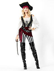 cheap -Pirates of the Caribbean Cosplay Costume Outfits Masquerade Adults' Women's Cosplay Halloween Halloween Festival / Holiday Cotton Polyster Black Women's Carnival Costumes
