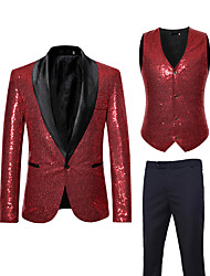 cheap -Men's EU / US Size Suits, Solid Colored V Neck / Shawl Lapel Rayon / Polyester Black / Silver / Red