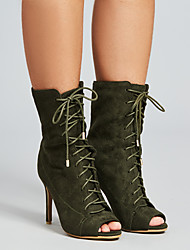 cheap -Women's Boots Stiletto Heel Peep Toe Suede Booties / Ankle Boots Spring &  Fall Black / Army Green / Red
