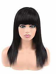 cheap -Remy Human Hair Lace Front Wig Neat Bang style Brazilian Hair Straight Black Wig 130% Density Women's Medium Length Human Hair Lace Wig beikashang