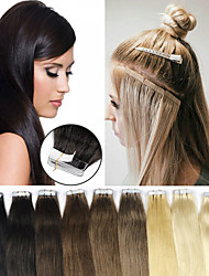 cheap -Laflare Tape In Human Hair Extensions Straight Human Hair Extension Human Hair Extensions Brazilian Hair 1 Piece Women Extention New Women's Dark Black
