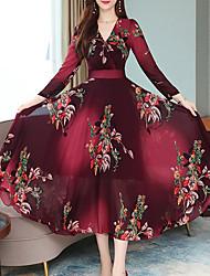 cheap -Women's Vintage A Line Dress - Floral Print V Neck Wine Blue Green M L XL XXL
