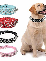 cheap -Dog Collar Adjustable / Retractable Studded PU Leather Black Brown White