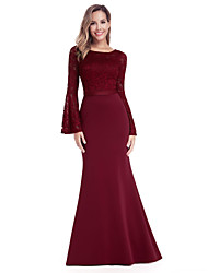 cheap -Mermaid / Trumpet Jewel Neck Floor Length Chiffon / Lace Minimalist / Red Formal Evening / Wedding Guest Dress with Appliques 2020