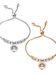 cheap -Women's White AAA Cubic Zirconia Chain Bracelet Pendant Bracelet Hollow Out Tree of Life Stylish European Titanium Steel Bracelet Jewelry Rose Gold / White For Daily / Rose Gold Plated