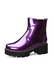 cheap -Women's Boots Block Heel Round Toe Patent Leather Booties / Ankle Boots Classic / Minimalism Spring / Fall & Winter Black / Purple / Yellow