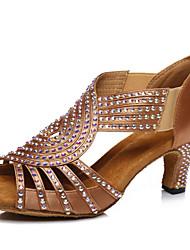 Недорогие -Жен. Танцевальная обувь Сатин Обувь для латины Crystal / Rhinestone На каблуках Кубинский каблук Верблюжий / Бронзовый / Выступление / Тренировочные