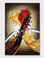cheap -Oil Painting Hand Painted Vertical Abstract Still Life Modern Rolled Canvas (No Frame)