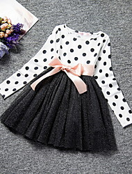 cheap -Kids Girls' Polka Dot Mesh Long Sleeve Maxi Dress White