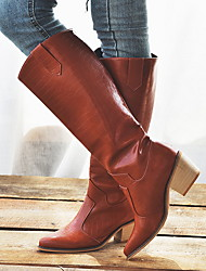 cheap -Women's Boots Knee High Boots Flat Heel Closed Toe PU Knee High Boots Fall & Winter Black / Brown