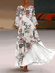 abordables -Femme Maxi Balançoire Robe Bloc de Couleur Blanche Jaune M L XL Manches Longues