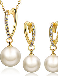 cheap -Women's Drop Earrings Pendant Necklace Cut Out Stylish Unique Design Pearl Gold Plated Earrings Jewelry Gold For Daily Work 1 set