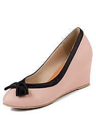 cheap -Women's Heels Wedge Heel Round Toe Bowknot PU Minimalism Spring &  Fall Black / Pink / Beige / Color Block