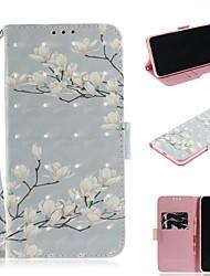 Недорогие -чехол для apple iphone xs / iphone xr / iphone xs max кошелек / держатель карты / противоударный чехлы для всего тела из искусственной кожи с цветком магнолии для iphone 8 plus / iphone 7 plus /