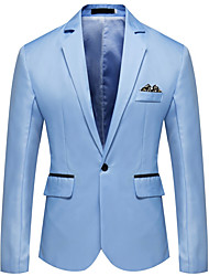 cheap -Men's Blazer Notch Lapel Polyester Gray / Light Blue / Royal Blue